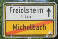 ortsschild michelbach ausgang freiolsheim