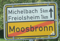 ortsschild moosbronn ausgang freiolsheim